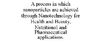 A PROCESS IN WHICH NANOPARTICLES ARE ACHIEVED THROUGH NANOTECHNOLOGY FOR HEALTH AND BEAUTY, NUTRITIONAL AND PHARMACEUTICAL APPLICATIONS.