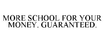 MORE SCHOOL FOR YOUR MONEY. GUARANTEED.
