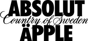 ABSOLUT COUNTRY OF SWEDEN ÄPPLE