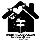 PARENTS LOVE COLLEGE FROM HOME, WITH LOVE. WWW.PARENTSLOVECOLLEGE.COM