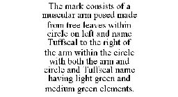 THE MARK CONSISTS OF A MUSCULAR ARM POSED MADE FROM TREE LEAVES WITHIN CIRCLE ON LEFT AND NAME TUFFSEAL TO THE RIGHT OF THE ARM WITHIN THE CIRCLE WITH BOTH THE ARM AND CIRCLE AND TUFFSEAL NAME HAVING