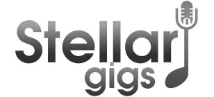 The word Stellar gigs with a music note that has the head of a microphone at the top of the note.