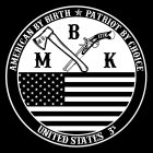 A circle with the words American by birth patriot by choice on the top of the outter circle and united states 3% on the bottom.  On the inner circle the letters MBK (My Brothers Keeper) with a hatchet and a flint lock pistol and the american flag.