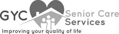 """A heart shaped orange and red house with three individuals representing a family in the house. with a slogan """" Improving your quality of life"""""""