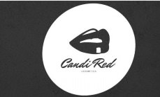 Open mouth Lips with Candi Red Cosmetics printed below