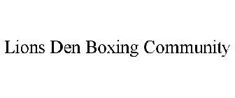 Lions Den Boxing Community