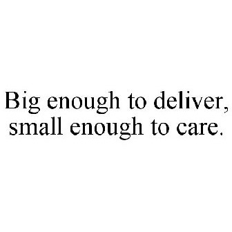 Big Enough To Deliver Small Enough To Care Trademark